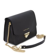 Plic de dama din piele naturala saffiano, negru, Tuscany Leather, TL Bag