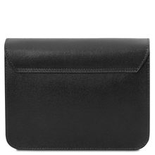 Plic dama din piele naturala saffiano, negru, Tuscany Leather, TL Bag
