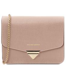 Plic dama, din piele naturala saffiano, nude, Tuscany Leather, TL Bag