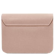 Plic dama din piele naturala saffiano, nude, Tuscany Leather, TL Bag