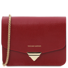 Plic din piele naturala saffiano, rosu, Tuscany Leather, TL Bag