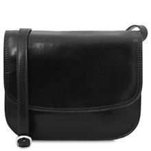 Geanta de umar, din piele naturala neagra, Tuscany Leather, Greta
