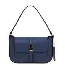 Geanta dama, din piele naturala albastru inchis, Tuscany Leather, Noemi