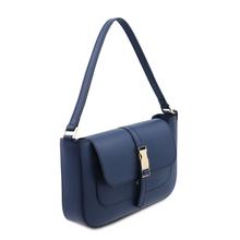 Noemi Leather clutch handbag Dark Blue