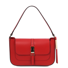 Geanta dama, din piele naturala rosie, Tuscany Leather, Noemi