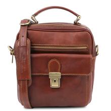 Geanta barbati, din piele naturala maro, Tuscany Leather, Brian