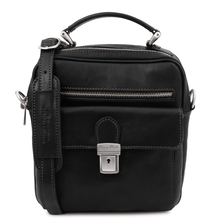 Geanta barbati, din piele naturala neagra, Tuscany Leather, Brian