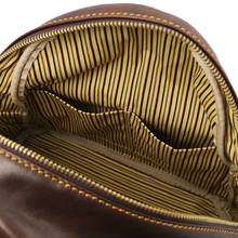 Rucsac dama, din piele naturala maro inchis, Tuscany Leather, Sydney