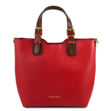 Geanta dama din piele naturala rosie Tuscany Leather