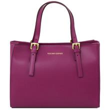 Geanta de dama, din piele naturala violet, Tuscany Leather, Aura