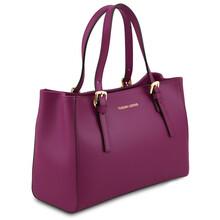 Geanta dama mana din piele naturala violet, Tuscany Leather, Aura