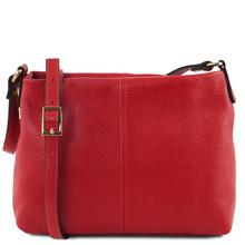 Geanta piele naturala dama Tuscany Leather, rosu aprins