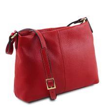Geanta de umar piele naturala dama Tuscany Leather, rosu aprins