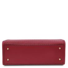 Geanta de dama din piele naturala rosie, Tuscany Leather, Woven