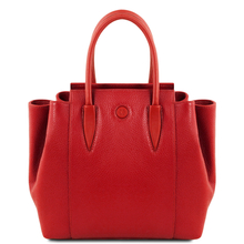 Geanta dama din piele naturala rosu aprins, Tuscany Leather, Tulipan