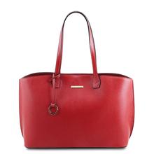Geanta dama din piele naturala rosu aprins, Tuscany Leather, TL Bag