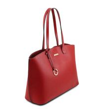 Geanta shopper piele naturala rosu aprins, Tuscany Leather, TL Bag
