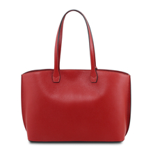 Geanta shopper dama din piele naturala rosu aprins, Tuscany Leather, TL Bag