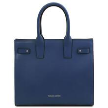 Geanta dama de mana, din piele naturala albastru inchis, Tuscany Leather, Catherine Leather