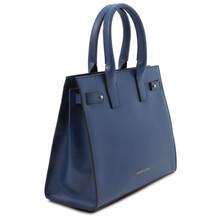 Geanta de dama, din piele naturala albastru inchis, Tuscany Leather, Catherine Leather