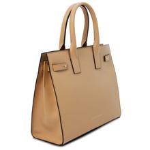 Geanta mana, din piele naturala sampanie, Tuscany Leather, Catherine Leather