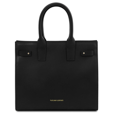 Geanta dama de mana, din piele naturala neagra, Tuscany Leather, Catherine Leather