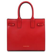 Geanta dama de mana, din piele naturala rosu aprins, Tuscany Leather, Catherine Leather