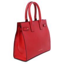 Geanta pentru dama de mana, din piele naturala rosu aprins, Tuscany Leather, Catherine Leather