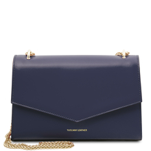 Plic dama din piele naturala albastru inchis, Tuscany Leather, Fortuna