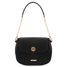 Geanta dama din piele naturala, neagra, Tuscany Leather, Fresia