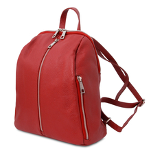 Rucsac dama, din piele nat rosie, Tuscany Leather, TL Bag