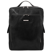 Rucsac laptop din piele naturala neagra, marime mare, Tuscany Leather, Bangkok