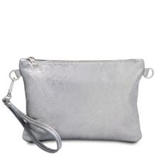 Plic dama din piele naturala argintie, Tuscany Leather, TL Bag Metallic