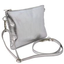 Plic de dama din piele naturala argintie, Tuscany Leather, TL Bag Metallic
