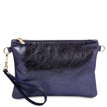 Plic dama din piele naturala albastru inchis, Tuscany Leather, TL Bag Metallic