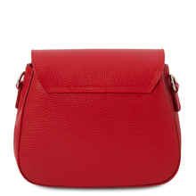 Geanta umar dama, piele naturala rosu aprins, Tuscany Leather, Jasmine