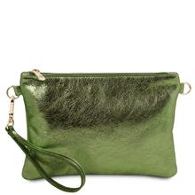 Plic dama din piele naturala verde, Tuscany Leather, TL Bag Metallic