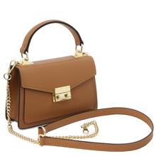 Geanta de dama piele naturala coniac, marime mica, Tuscany Leather, TL Bag