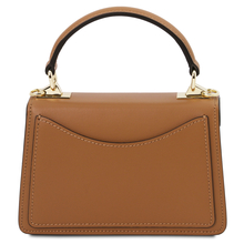 Geanta dama mana din piele naturala coniac, marime mica, Tuscany Leather, TL Bag