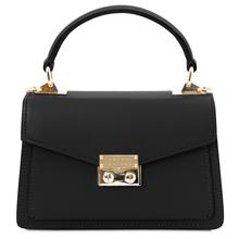 Geanta de dama, din piele naturala neagra, marime mica, Tuscany Leather, TL Bag