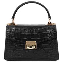 Geanta de dama, piele naturala neagra, marime mica, Tuscany Leather, TL Bag Croc