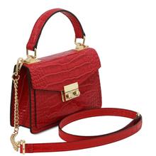Geanta dama mana, piele naturala rosie, marime mica, Tuscany Leather, TL Bag Croc