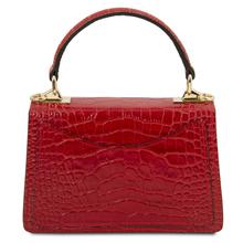 Geanta de dama,din piele naturala rosie, marime mica, Tuscany Leather, TL Bag Croc