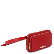 Borseta brau dama din piele naturala rosie, Tuscany Leather