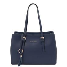 Geanta dama de umar, piele naturala albastra, Tuscany Leather, TL Bag