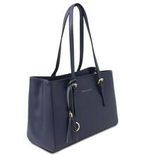Geanta dama de umar, din piele naturala albastra, Tuscany Leather, TL Bag