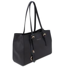 Geanta de dama, piele naturala neagra, Tuscany Leather, TL Bag