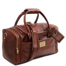 Geanta voiaj din piele naturala maro, cu buzunare laterale, Tuscany Leather, TL Voyager