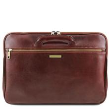 Servieta documente din piele naturala Tuscany Leather, maro inchis, Caserta