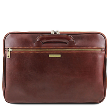 Servieta documente din piele naturala Tuscany Leather, honey, Caserta